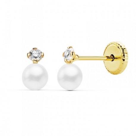 Pendientes oro 18k 6mm. perla cultivada 3.5mm. circonita [AB9363]