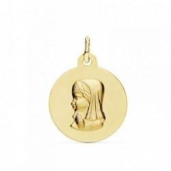 Medalla oro 18k Virgen Niña 16mm. lisa mate relieve [AB9364]