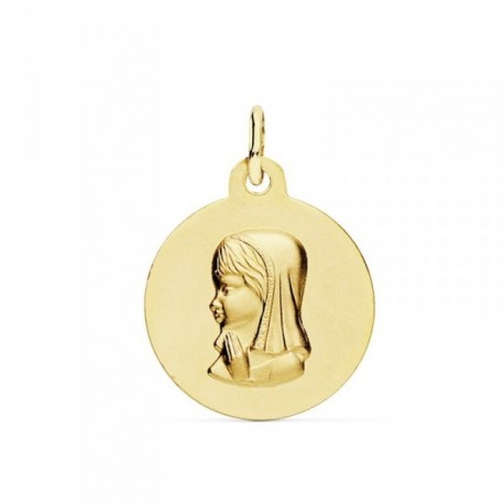 Medalla oro 18k Virgen Niña 16mm. lisa mate relieve [AB9364GR]