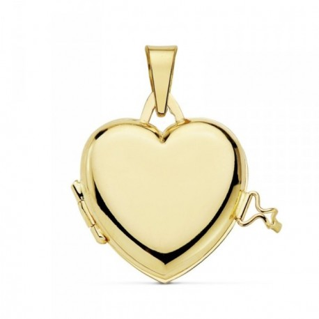 Colgante oro 18k portafotos corazón liso guardapelo [AB9369GR]