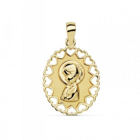 Medalla oro 18k Virgen Niña 15mm. oval borde calado [AB9370]