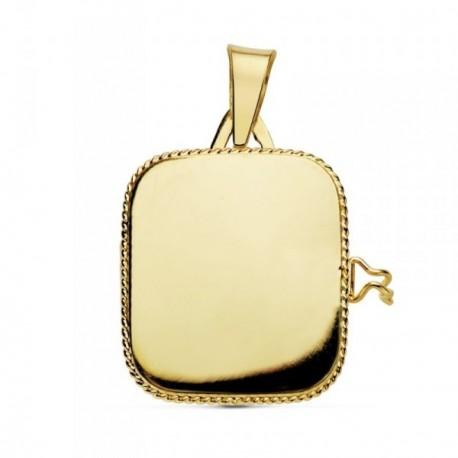 Colgante oro 18k portafotos cuadrado liso guardapelo borde [AB9371]