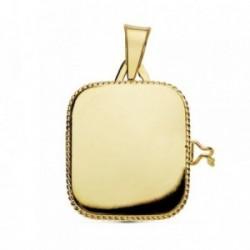 Colgante oro 18k portafotos cuadrado liso guardapelo borde [AB9371GR]