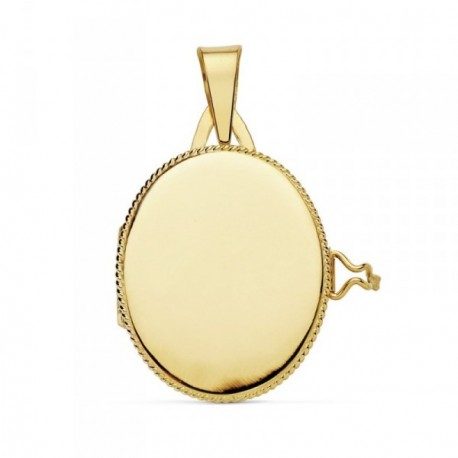 Colgante oro 18k portafotos 22mm. oval liso guardapelo borde [AB9372]