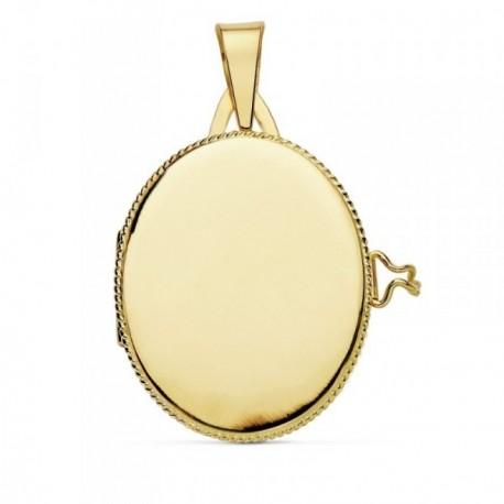 Colgante oro 18k portafotos 25mm. oval liso guardapelo borde [AB9373]