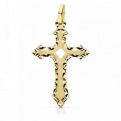 Colgante oro 18k cruz 27mm. borde tallado calado [AB9374]