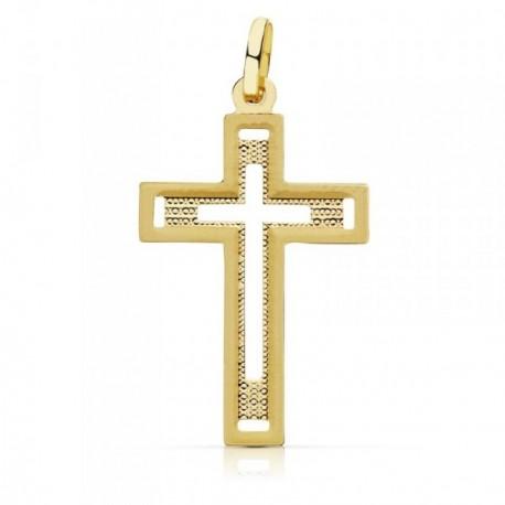 Colgante oro 18k cruz 28mm. sin cristo tallada centro calado [AB9375]