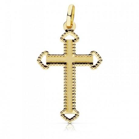 Colgante oro 18k cruz 28mm. tallada puntas caladas borde [AB9376]