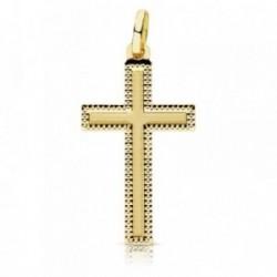 Colgante oro 18k cruz 27mm. borde tallado centro liso [AB9377]