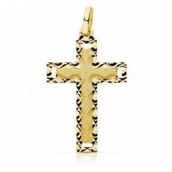 Colgante oro 18k cruz 28mm. borde tallado [AB9378]