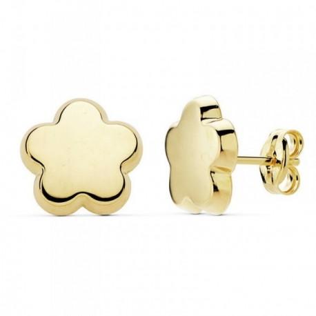 Pendientes oro 18k motivo flor 10mm. lisa presión [AB9384]