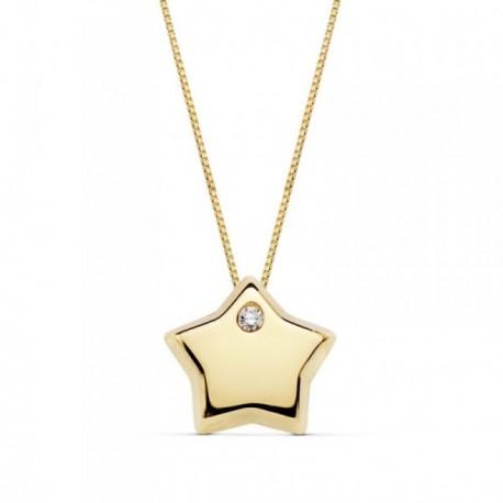 Gargantilla oro 18k cadena 42cm. colgante estrella circonita [AB9386]