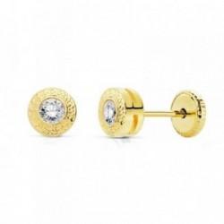 Pendientes oro 18k 5mm. chatón greca circonita 3mm. [AB9395]