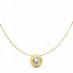 Gargantilla oro 18k cadena 42cm. chatón greca circonita [AB9397]