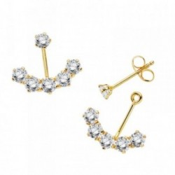 Pendientes oro 18k ear jacket swing earrings 14mm circonitas desmontables cierre presión