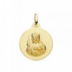 Medalla oro 18k Corazón de Jesús 16mm. lisa [AB9412GR]