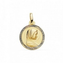 Medalla oro 18k Virgen Niña francesa hélice 14mm. borde [AB9418GR]