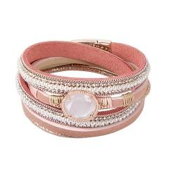 Pulsera mujer BOCCADAMO KENDY 40cm. piel rosa cristal blanco piedra Swarovski cierre magnético