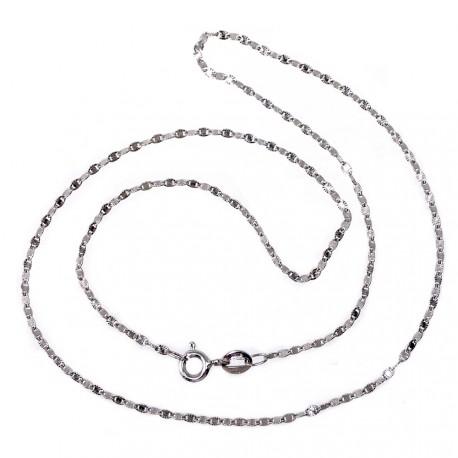 Cadena oro blanco 18k diamantada 40cm. espesor 1.5mm. [AB8996]