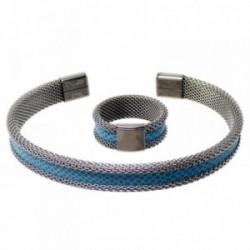 Juego pulsera anillo talla 13 acero inoxidable banda azul [AB9448]