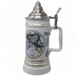 Jarra cerveza cerámica WMF tapa acero inoxidable mapamundi [AB9451]