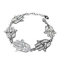 Pulsera plata Ley 925m. mano Fátima amuleto suerte [AB9511]