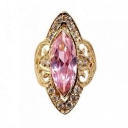 Sortija oro 9K amarillo piedra central rosa lanzadera  [AB9550]