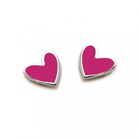 Pendientes plata Agatha Ruiz de la Prada 6mm. corazón rosa [AB5697]
