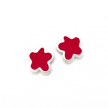 Pendientes plata Agatha Ruiz de la Prada 6mm. flor roja [AB5701]