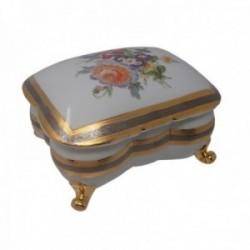 Caja joyero cerámica pintado a mano oro plata motivo flores [AB9176]