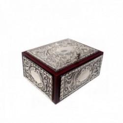 Caja joyero plata Ley 925m madera motivos hojas repujado [AB9171]