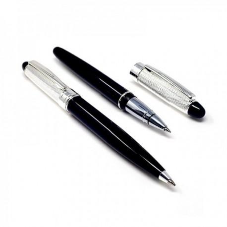 Estuche bolígrafo y roller cabezal metal plateado negro [AB9762]