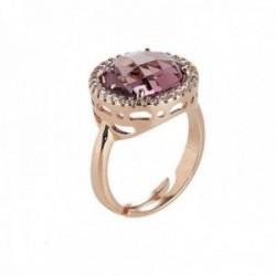 Sortija BOCCADAMO ROSE bronce chapado oro rosa piedra [AB9781]