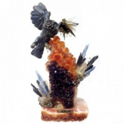 Figura Ebano búho geoda 20x15cm. piedras naturales [AB9207]