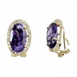 Pendientes oro 18k centro piedra violeta 14mm circonitas [AB7530]