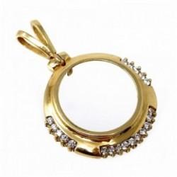 Colgante oro 18k 26mm. cerco portamoneda circonitas circular [AC0032]