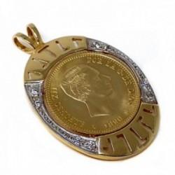 Colgante oro 18k bicolor 31mm. moneda alfonsina circonitas [AC0033]