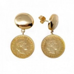 Pendientes oro 18k largos monedas antiguas [AC0036]
