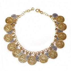 Pulsera oro 18k bicolor 19.5cm. monedas antiguas medallas [AC0037]