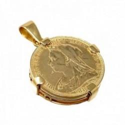 Colgante plata Ley 925m. chapada oro moneda  [AC0042]