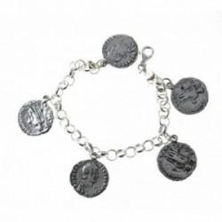 Pulsera plata Ley 925m. 19cm. rolo fetiches monedas [AC0044]