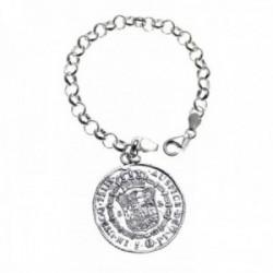 Pulsera plata Ley 925m. 19cm. rolo fetiche moneda antigua [AC0046]