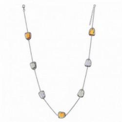 Gargantilla plata Ley 925m Visetti rodiada piedras colores [AC0011]