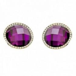 Pendientes oro 18k piedra violeta 14mm. circonitas redondos  [AB7537]