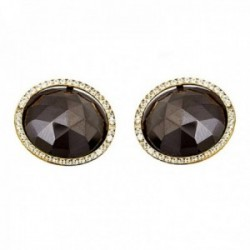 Pendientes oro 18k piedra negra 14mm. circonitas redondos  [AB7538]