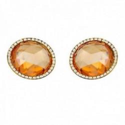 Pendientes oro 18k piedra color topacio 14mm. circonitas  [AB7539]