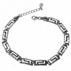 Pulsera plata Ley 925m motivos greca tallada calada [AB9585]