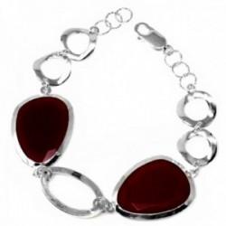 Pulsera plata Ley 925m motivos ovalados cristal rojo oscuro [AB9587]