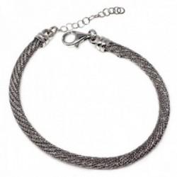 Pulsera plata Ley 925m malla forma espiral [AB9597]