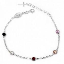 Pulsera plata Ley 925m rosario circonitas colores cruz [AB9600]